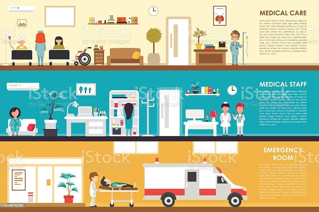 Medical Care and Staff Emergency room flat hospital interior concept vector art illustration