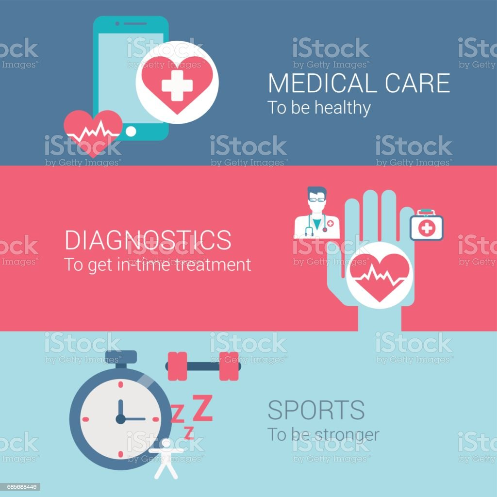Medical care diagnostics sports concept flat icons set of healthy lifestyle treatment and vector web banners illustration print materials website click infographics elements collection. royalty-free medical care diagnostics sports concept flat icons set of healthy lifestyle treatment and vector web banners illustration print materials website click infographics elements collection 0명에 대한 스톡 벡터 아트 및 기타 이미지