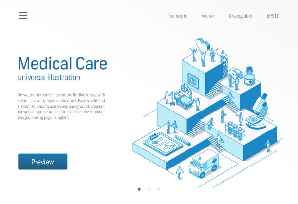 ilustrações de stock, clip art, desenhos animados e ícones de medical care. doctor and nurse teamwork. healthcare, patient treatment isometric line illustration. hospital, clinic research, lab diagnostic icon. growth step infographic concept - covid hospital