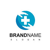 istock Medical Care Logo With Hand And Cross Symbol 1214386061