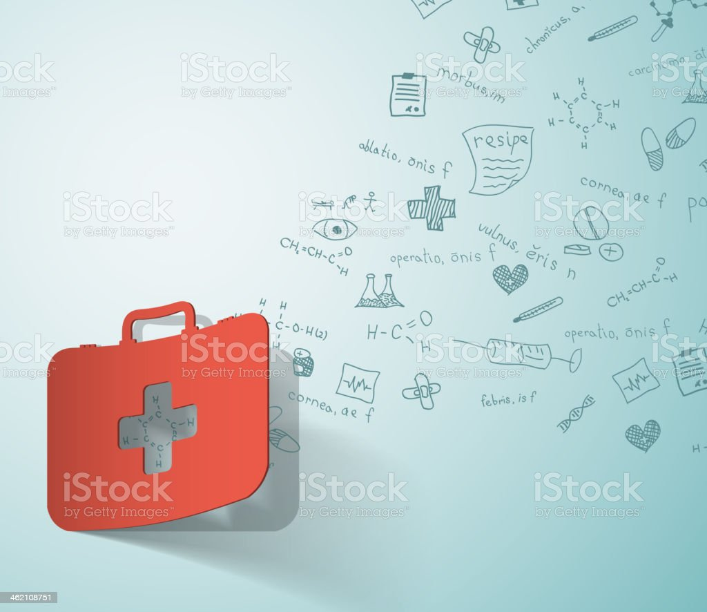 medical case, paper sticker with formulas on the background vector art illustration