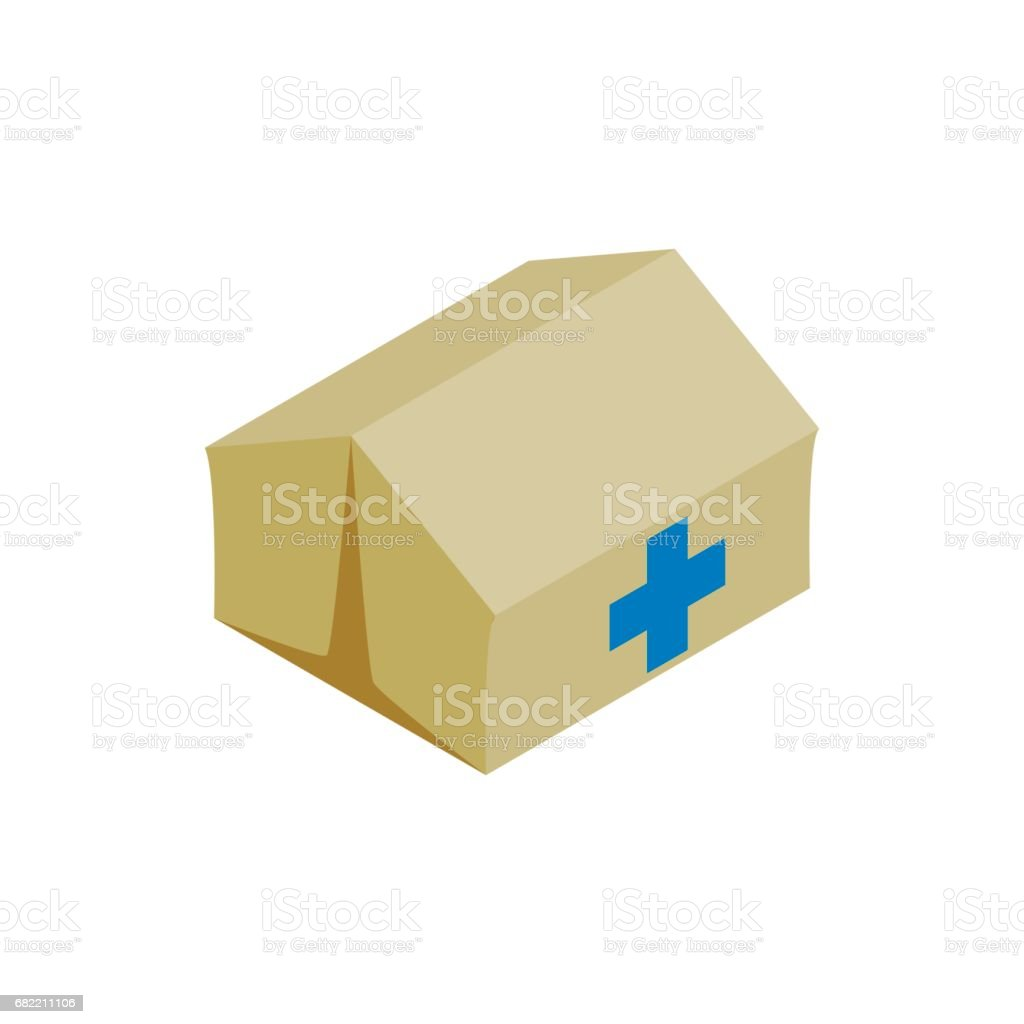 Medical center for refugees icon, isometric style vector art illustration