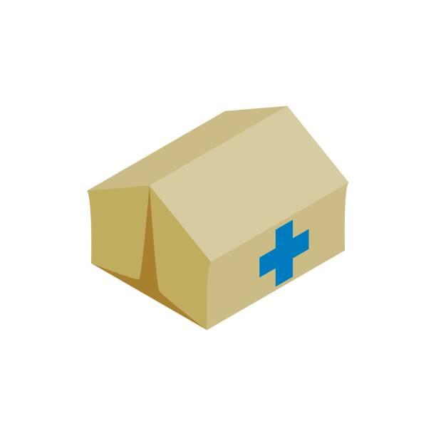 ilustrações, clipart, desenhos animados e ícones de centro médico para ícone de refugiados, estilo isométrico - barraca