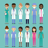 Icons medical characters doctors, nurses and surgeons. Vector flat people. Hospital staff. Medicine concept.