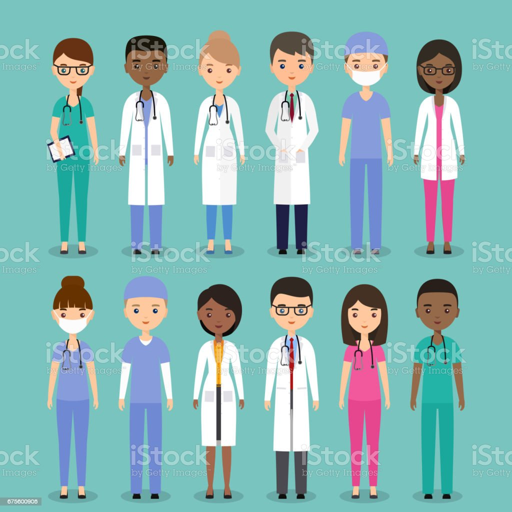 Medical characters. Doctors and nurses in flat design. Vector illustration. vector art illustration