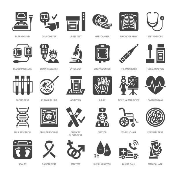 ilustraciones, imágenes clip art, dibujos animados e iconos de stock de cheque médico para arriba, los iconos de glifo plana. equipo de diagnóstico de la salud - resonancia magnética, tomografía, glucómetro, estetoscopio, presión arterial, radiografía, análisis de sangre. signos de hospital. pixel del macizo de la silu - oncología
