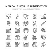 Medical check up, flat line icons. Health diagnostics equipment - mri, tomography, glucometer, stethoscope, blood pressure, x-ray, blood test. Hospital outline signs Pixel perfect 64x64