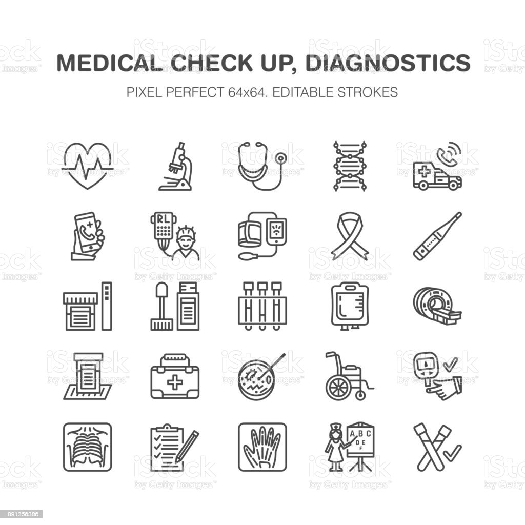 Medical check up, flat line icons. Health diagnostics equipment - mri, tomography, glucometer, stethoscope, blood pressure, x-ray, blood test. Hospital outline signs Pixel perfect 64x64 vector art illustration