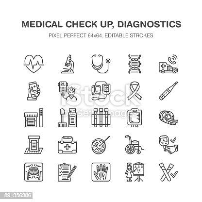 Medical Check Up Flat Line Icons Health Diagnostics