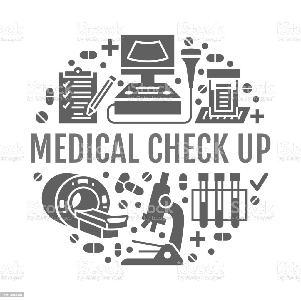 Medical check up poster template. Vector flat glyph icons, illustration of health care center, equipment, mri, ultrasound, blood test, microscope. Healthcare, diagnostics clinic banner - Royalty-free Analyzing stock vector