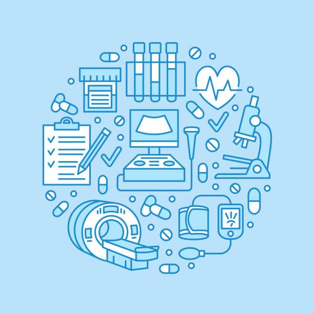 ilustraciones, imágenes clip art, dibujos animados e iconos de stock de chequeo médico de plantilla de cartel. iconos de línea plana de vector, ilustración del centro de salud, equipo, mri, cardiograma, ecografía, análisis de sangre. bandera azul de la clínica de diagnóstico - oncología