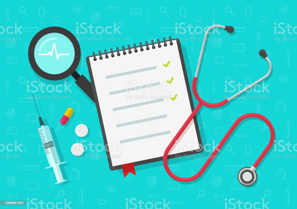 Medical Checklist Vector Flat Health Or Medical Notepad Or Notebook