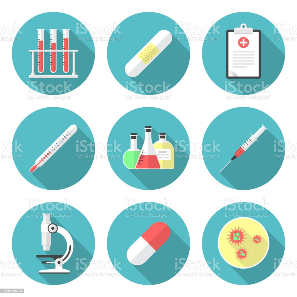 Medical circle icons set with long shadow. Flat design style. vector art illustration