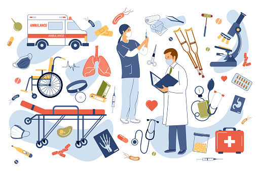 Medical clinic concept isolated elements set