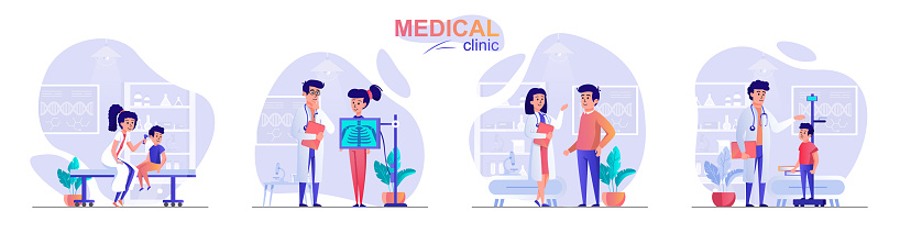 Medical clinic concept scenes set. Doctor diagnoses patient, children at pediatrician appointment, woman makes x-ray. Collection of people activities. Vector illustration of characters in flat design