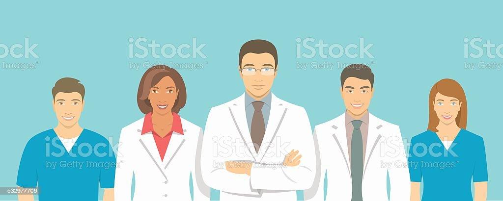 Clínica médica médicos equipo vector de ilustración plano de - ilustración de arte vectorial