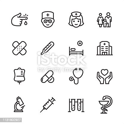 16 line black on white icons / Medical Set #82 Pixel Perfect Principle - all the icons are designed in 48x48pх square, outline stroke 2px.  First row of outline icons contains:  Blood Test, Doctor, Nurse, Family Medicine;  Second row contains:  Adhesive Bandage, Thermometer, Hospital Bed, Hospital;  Third row contains:  Blood Donation, Pharmacy (Pills & Capsules), Stethoscope, Care;   Fourth row contains:  Microscope, Syringe, Biochemical Analysis, Pharmacy Symbol.  Complete Inlinico collection - https://www.istockphoto.com/collaboration/boards/2MS6Qck-_UuiVTh288h3fQ
