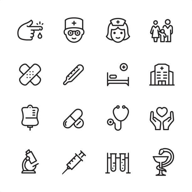 bildbanksillustrationer, clip art samt tecknat material och ikoner med medical clinic-kontur ikon uppsättning - sjukhusavdelning