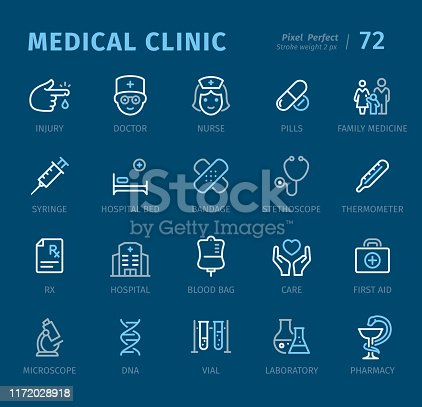 Medical Clinic - 20 three-color outline icons with captions / Pixel Perfect Set #72 / Icons are designed in 48x48pх square, outline stroke 2px.  First row of outline icons contains: Injury, Doctor, Nurse, Pills, Family Medicine;  Second row contains: Syringe, Hospital Bed, Bandage, Stethoscope, Thermometer;  Third row contains: Rx, Hospital, Blood Bag, Care, First Aid;  Fourth row contains: Microscope, DNA, Vial, Laboratory, Pharmacy.  Complete Captico icons collection - https://www.istockphoto.com/collaboration/boards/L98ewPMHpUStg1uF0pmcYg