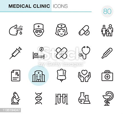 20 Outline Style - Black line - Pixel Perfect icons / Medical Clinic Set #80 Icons are designed in 48x48pх square, outline stroke 2px.  First row of outline icons contains:  Blood Test, Doctor, Nurse, Pharmacy (Pills & Capsules), Family Medicine;  Second row contains:  Syringe, Hospital Bed, Adhesive Bandage, Stethoscope, Thermometer;  Third row contains:  Rx, Hospital, Blood Donation, Care, First Aid Kit;   Fourth row contains:  Microscope, DNA, Biochemical Analysis, Laboratory Flask, Pharmacy Symbol.  Complete Primico collection - https://www.istockphoto.com/collaboration/boards/NQPVdXl6m0W6Zy5mWYkSyw