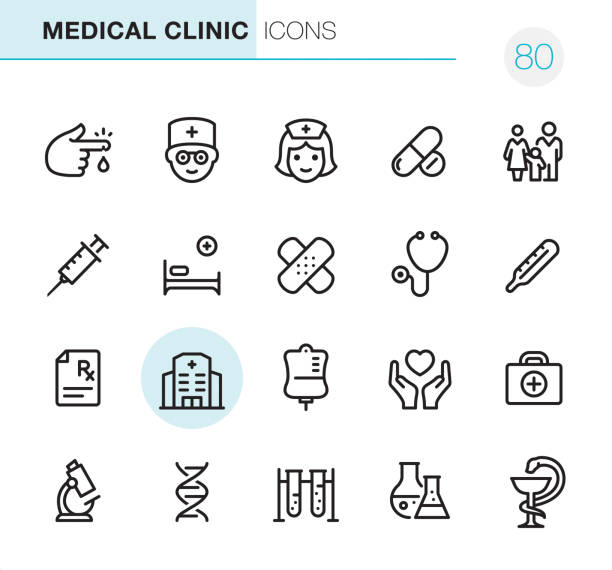 Medical Clinic - Pixel Perfect icons 20 Outline Style - Black line - Pixel Perfect icons / Medical Clinic Set #80 Icons are designed in 48x48pх square, outline stroke 2px.  First row of outline icons contains:  Blood Test, Doctor, Nurse, Pharmacy (Pills & Capsules), Family Medicine;  Second row contains:  Syringe, Hospital Bed, Adhesive Bandage, Stethoscope, Thermometer;  Third row contains:  Rx, Hospital, Blood Donation, Care, First Aid Kit;   Fourth row contains:  Microscope, DNA, Biochemical Analysis, Laboratory Flask, Pharmacy Symbol.  Complete Primico collection - https://www.istockphoto.com/collaboration/boards/NQPVdXl6m0W6Zy5mWYkSyw hospital bed stock illustrations