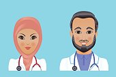 Medical clinic staff flat avatars of doctors, nurses, surgeon, assistant.  Hospital personnel multiracial faces.