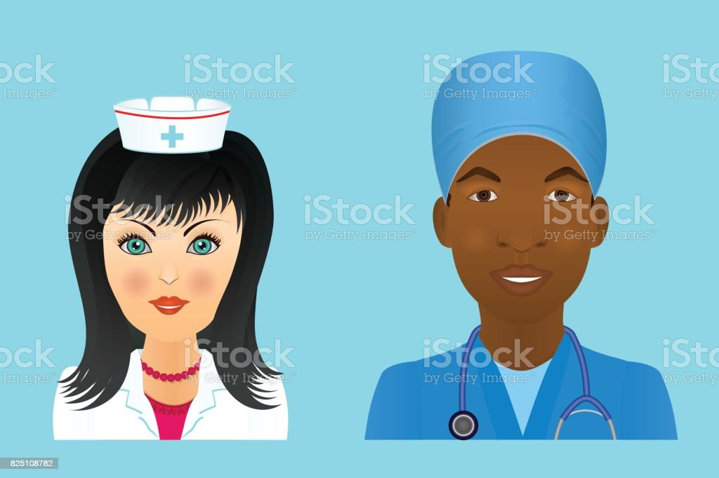 Medical clinic staff flat avatars of doctors, nurses, surgeon, assistant.  Hospital personnel multiracial faces. vector art illustration