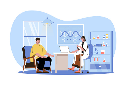 Medical clinic web character concept. Doctor consults patient in office. Man came to therapist for diagnostic and treatment, isolated scene with persons. Vector illustration with people in flat design