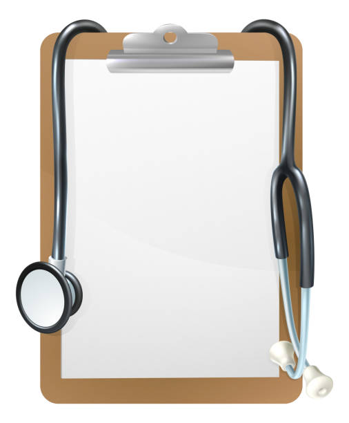 Medical Clipboard Background Background medical frame illustration of a clipboard with a doctors stethoscope clipboard stock illustrations