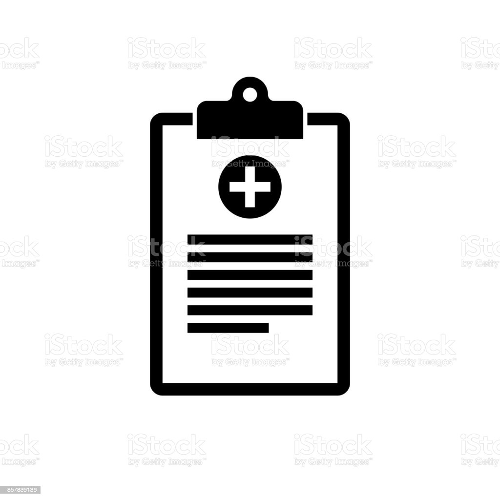 Medical clipboard icon. Black, minimalist icon isolated on white background. vector art illustration