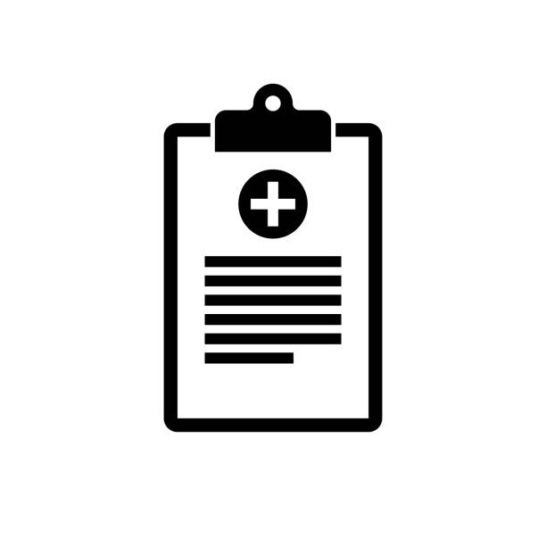Medical clipboard icon. Black, minimalist icon isolated on white background. Medical clipboard icon. Black, minimalist icon isolated on white background. Clipboard simple silhouette. Web site page and mobile app design vector element. clipboard stock illustrations