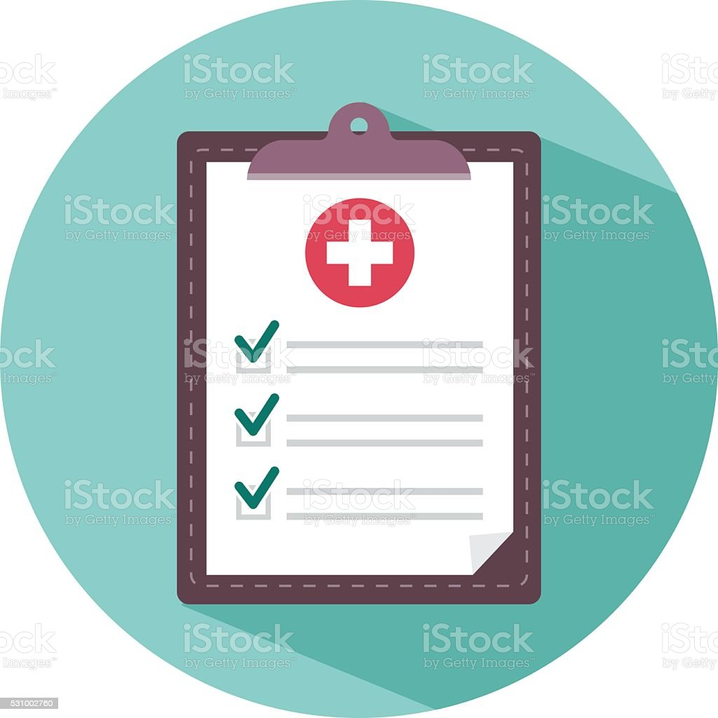 Medical clipboard icon with long shadow vector art illustration