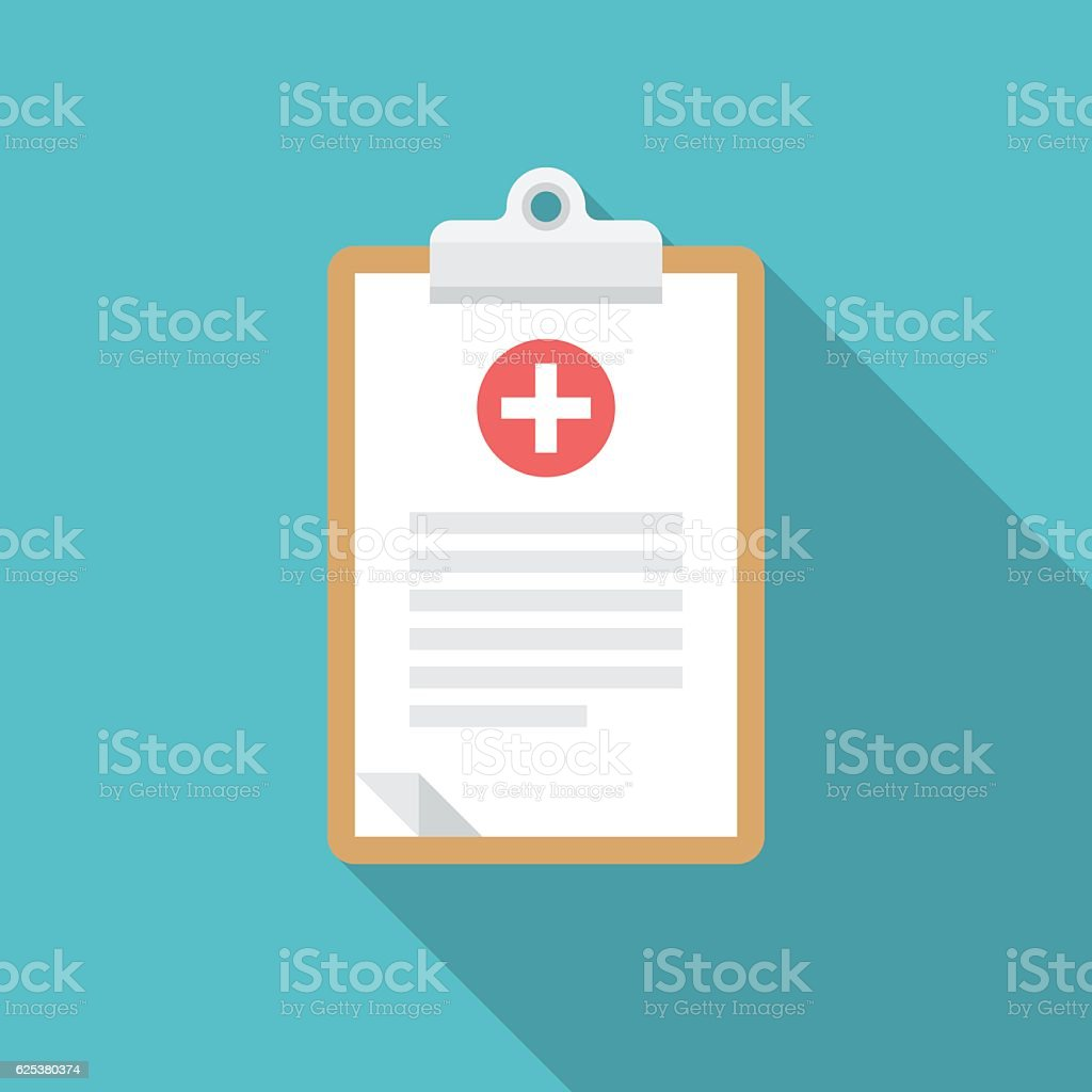 Medical clipboard icon with long shadow. vector art illustration