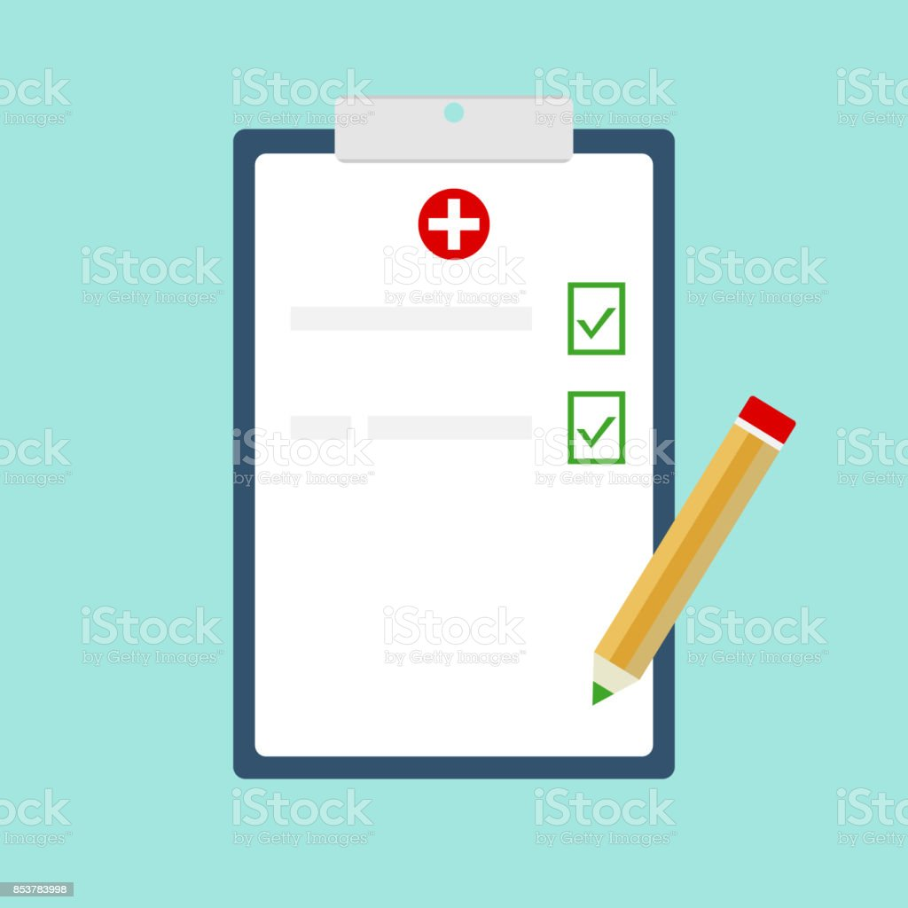 Medical clipboard vector art illustration