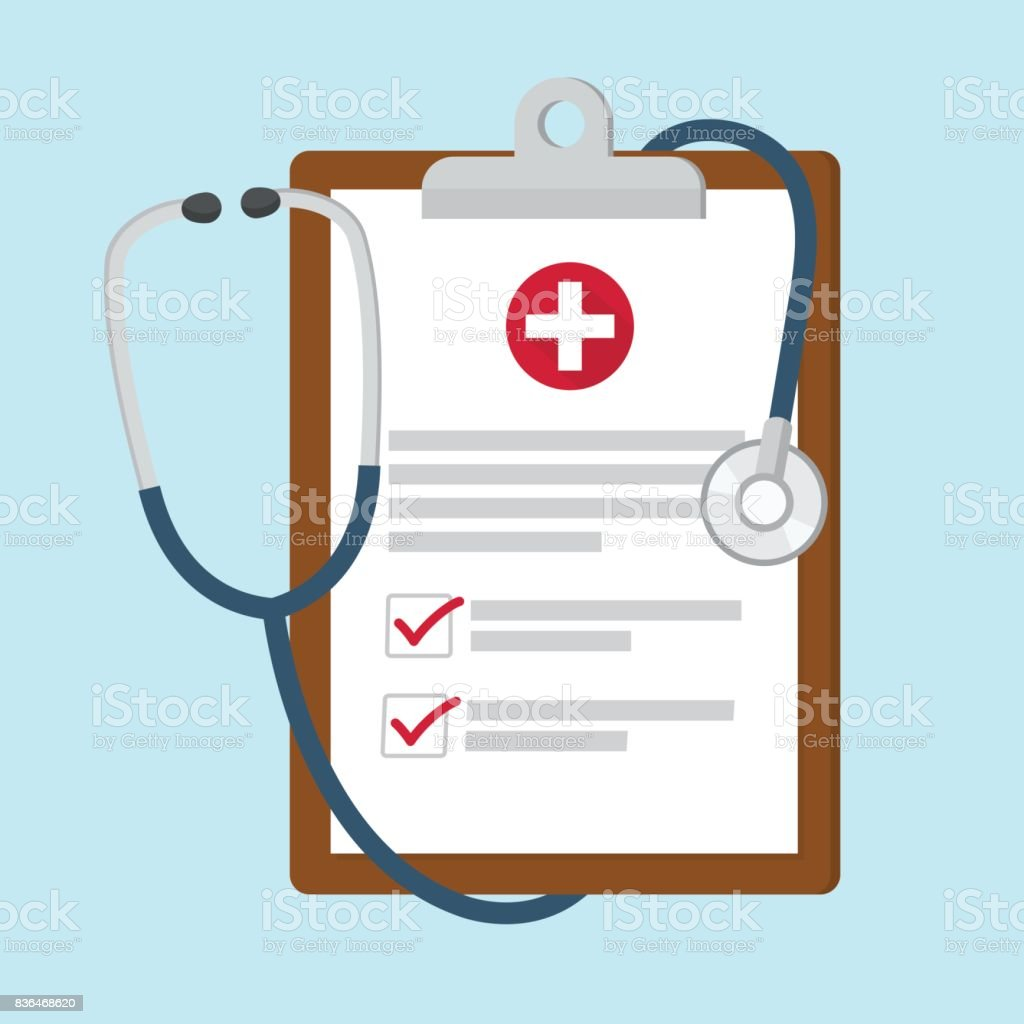 Medical clipboard with stethoscope vector art illustration