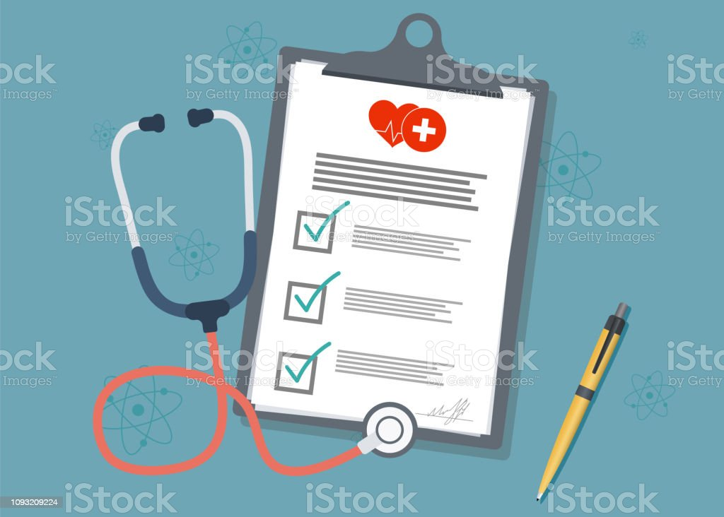 Medical Clipboard.Medical report with stethoscope and pen. Stethoscope with clipboard Medical Clipboard.Medical report with stethoscope and pen. Stethoscope with clipboard Advice stock vector