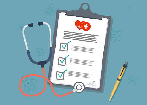 Medical Clipboardmedical Report With Stethoscope And Pen Stethoscope With Clipboard Stock Illustration - Download Image Now
