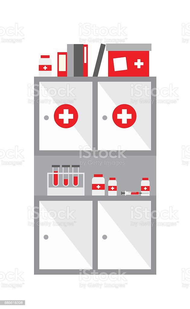 Medical closet vector art illustration