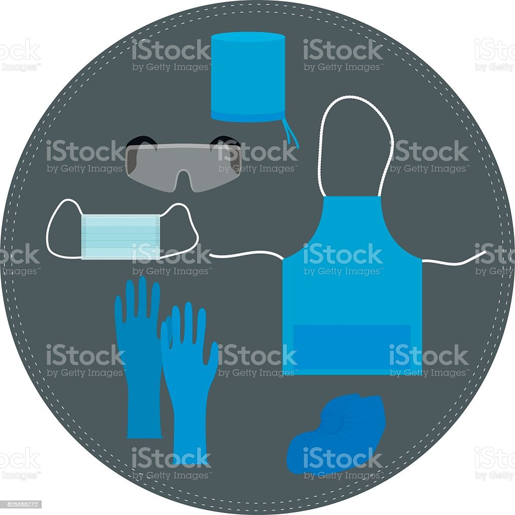 medical clothing and accessories for working vector art illustration