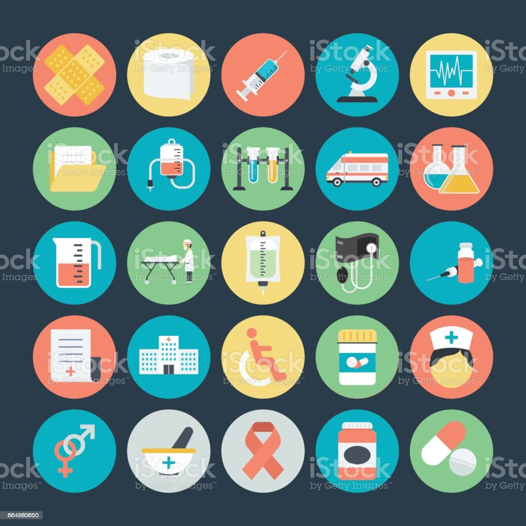 Medical Colored Vector Icons 1 vector art illustration