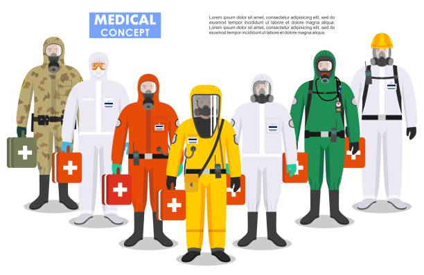 Medical concept. Detailed illustration different doctors in differences protective suits and masks on white background in flat style. Dangerous profession. Virus, infection, epidemic, quarantine. vector art illustration