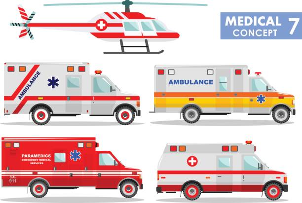 Medical concept. Detailed illustration of ambulance cars and helicopter in flat style on white background. Vector illustration. vector art illustration