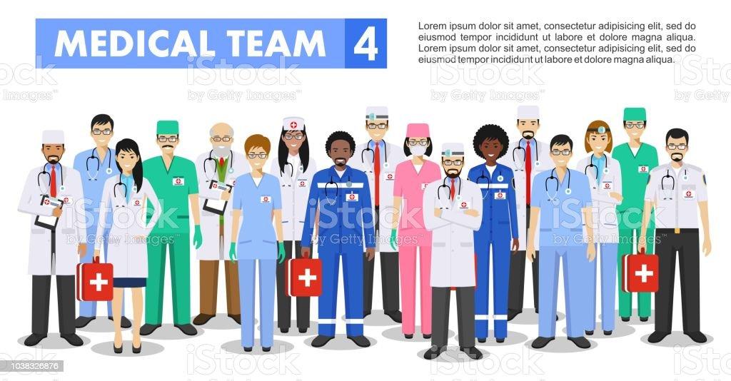 e1db5caef Concepto médico. Ilustración detallada de médico y enfermeras de estilo  plano aislado sobre fondo blanco