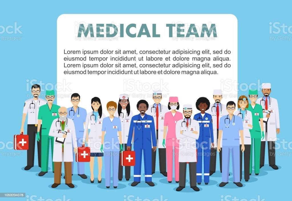 544945e08 Concepto médico. Ilustración detallada de médico y enfermeras de estilo  plano aislado sobre fondo azul