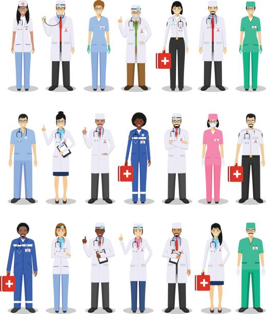 illustrazioni stock, clip art, cartoni animati e icone di tendenza di medical concept. detailed illustration of doctor and nurses in flat style isolated on white background. practitioner doctors man and woman standing in different positions. vector illustration - dottoressa