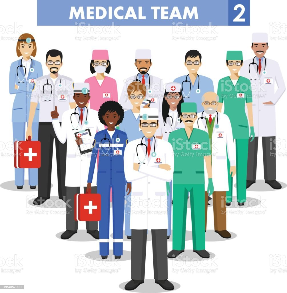 Medical concept. Detailed illustration of doctor and nurses in flat style isolated on white background. Practitioner doctors man and woman standing in different positions. Vector illustration. vector art illustration