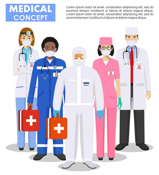 Medical concept. Detailed illustration of doctor and nurses in protective suit and mask in flat style. Dangerous profession. Virus, infection, epidemic, quarantine. Vector illustration. vector art illustration