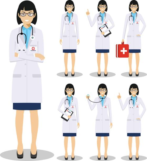 illustrazioni stock, clip art, cartoni animati e icone di tendenza di medical concept. detailed illustration of old american european doctors in flat style isolated on white background. practitioner doctor woman standing in different positions. vector illustration. - dottoressa