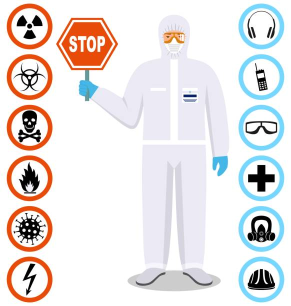 Medical concept. Detailed illustration of standing doctor holds a stop sign. Man in white protective suit and mask in flat style. Dangerous profession. Virus, infection, epidemic, quarantine. Safety and health vector icons. vector art illustration