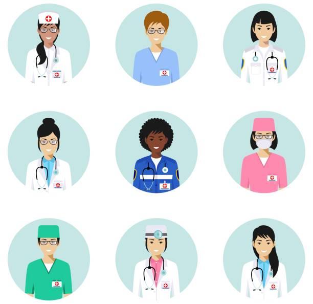 ilustraciones, imágenes clip art, dibujos animados e iconos de stock de concepto médico. médicos, enfermeras personajes avatares iconos conjunto en estilo plano aislado. las diferencias médicas las personas caras sonrientes. ilustración de vector. - técnico en urgencias médicas